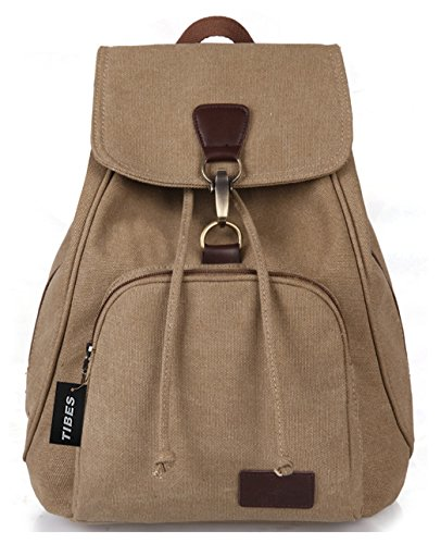 Tibes Pequeña mochila de lona de la universidad mochila casual para las mujeres Caqui