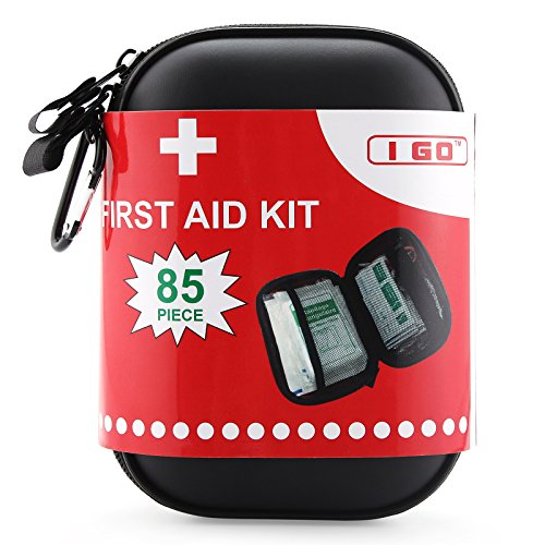 I Go Light and Durable First Aid Kit, Black Case Fully Stocked for an Emergency, Survival, Travel, or Home