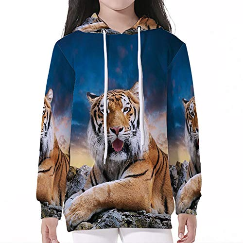 Cotton Pullover Hoodies,Tiger,Calm Siberian Large Cat with Beautiful Sunset Rest