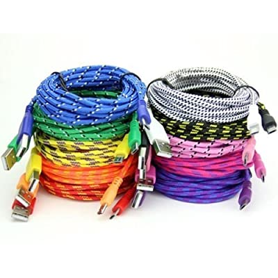 3ft 6ft 10ft Braided Fabric Micro USB Data&Sync Charger Cable Cord For Android Phones Samsung HTC Blackberry LG(High Quality)