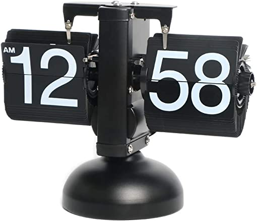 Rejea Flip Clock, Retro Auto Flip Down, Stainless Steel, Digital Desk Clock, 8.2 x 6.3 x 3.1 in, Stainless Steel, Battery Powered, for Living Room Decor, Desk, Shelf