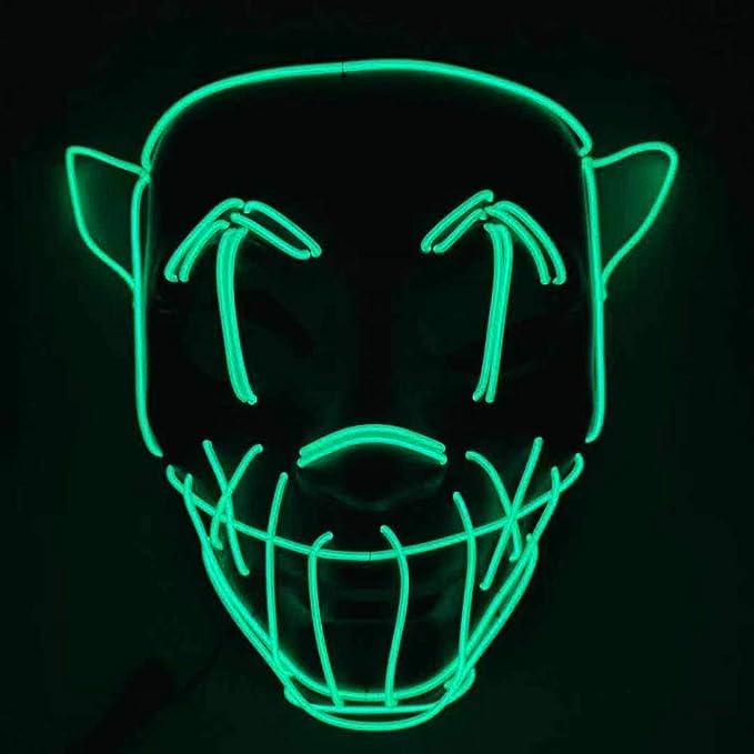 Máscaras neón LED verde disfraz halloween