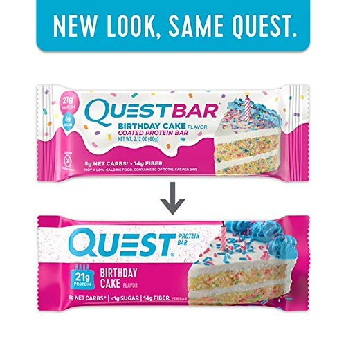 Quest Nutrition Protein Bar Birthday Cake. Low Carb Meal Replacement Bar with Over 20 Gram Protein. High Fiber, Gluten-Free (24 Count)