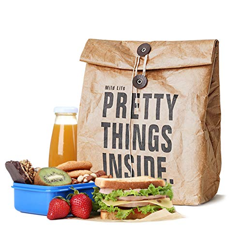 CODOHI Brown Paper Lunch Bags Retro Insulated Roll up Lunch Sack for Adult Kids Working/Go to School-Pretty Things Inside