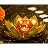 The Purple Tree Brass Lotus Tealight Holder with Glass for Diwali Decoration (Pack of 1) Diwali tealight Holder, Brass Candle Holder, Lotus Candle Holder, Diwali Decoration, Diwali Gift