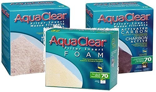 Aquaclear 70 Replacement Media Bundle 3 Pack: 1-Sponge,1-Carbon, 1-Ammonia Remover