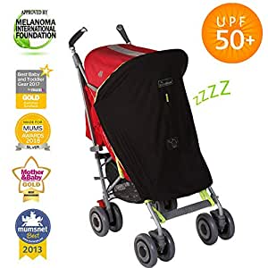SnoozeShade Original - Universal Fit Baby Pram Sun Shade | Blocks 99% UV | Sleep Aid and Blackout Blind for Strollers