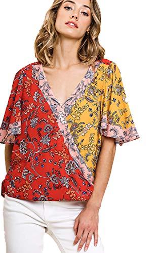 (Umgee Women's Mixed Print Short Bell Sleeve V-Neck Crossbody Top (M, Red Mix))