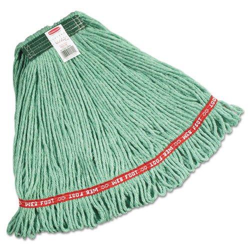 Rubbermaid Commercial Web Foot Wet Mops, Cotton/Synthetic, Green, Medium, 1-In Green Headband - six mop heads per case.