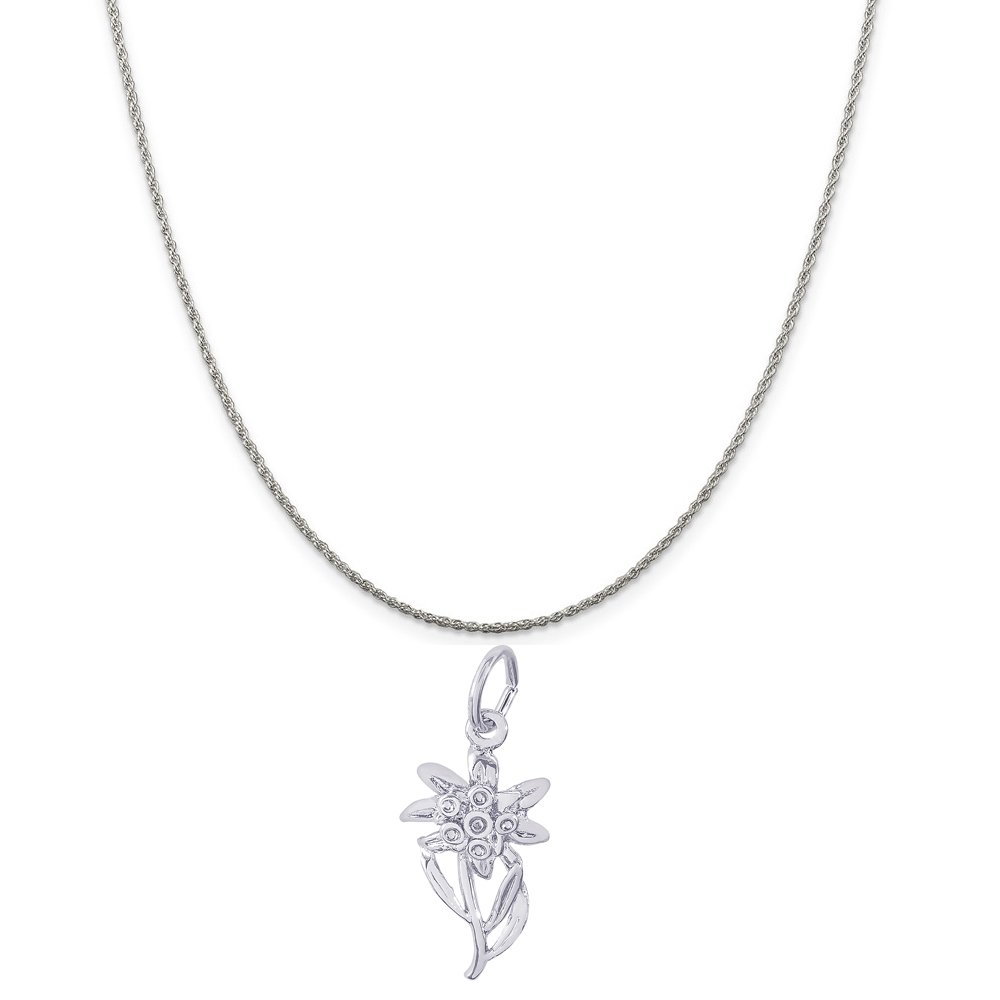 Rembrandt Charms 14K White Gold Edelweiss Charm on a 14K White Gold Rope Chain Necklace, 18''