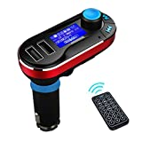 WJLING FM Transmitte Adapter, LCD Display Bluetooth MP3 Player Hands-Free Car Kit Charger for ipad,Smartphones (Red)