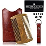 Beard Comb Kit by One Handsome Man - Sandalwood Beard Comb with PU Leather Case and Gift Box - Perfect Gifts For Him or Gift For Men - Benefits NONPROFIT Military Vets