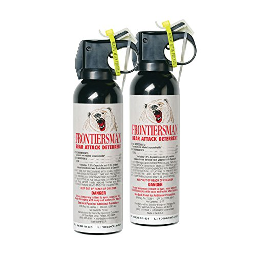 SABRE FRONTIERSMAN Bear Spray (7.9 oz and 9.2 oz) — Maximum Strength, Maximum Range, Includes Glow-in-Dark Safety—Ideal for Hiking, Camping and Hiking