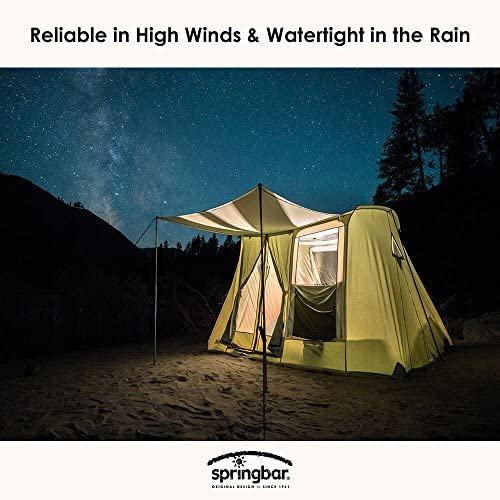 SPRINGBAR Highline 6 10×10 Foot Canvas Tent Water-Tight Cotton Canvas 6-Person Family Camping and Car Camping Tent 6.5 Foot Interior Standing Height Classic 1961 Easy Set Up Design
