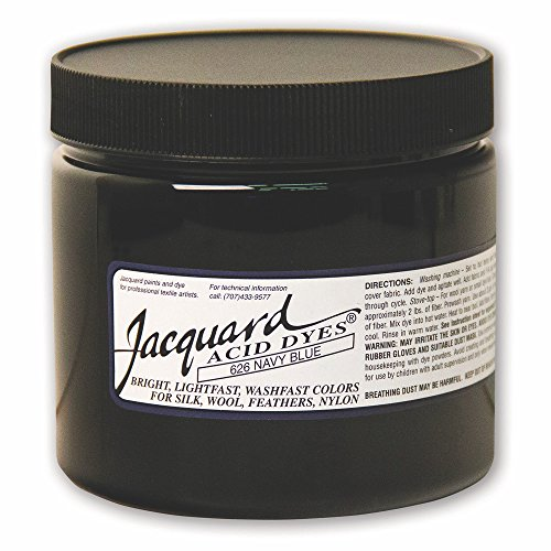 Jacquard Acid Dye for Wool, Silk and Other Protein Fibers, 8 Ounce Jar, Concentrated Powder, Navy Blue 626