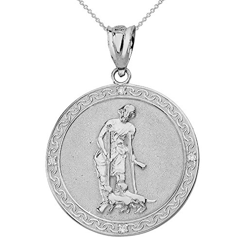 925 Sterling Silver Saint Lazarus Pray For Us Round Medal CZ Necklace (1.16