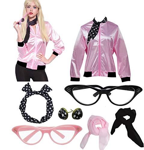 1950s Pink Ladies Printed Pink Satin Jacket