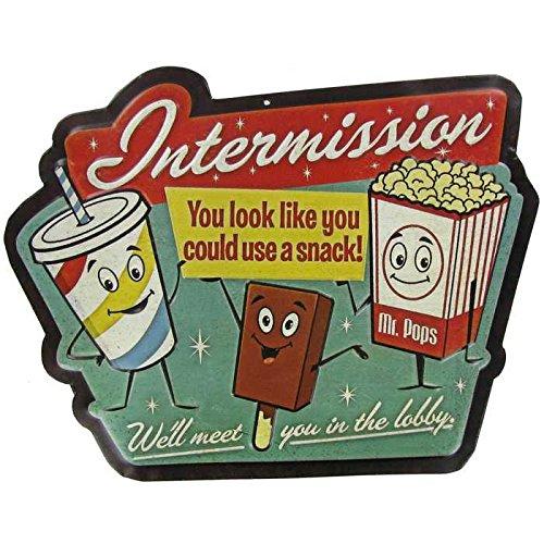 Intermission Embossed Die Cut Tin Sign Media Room Movie Theater - Media Sign Room