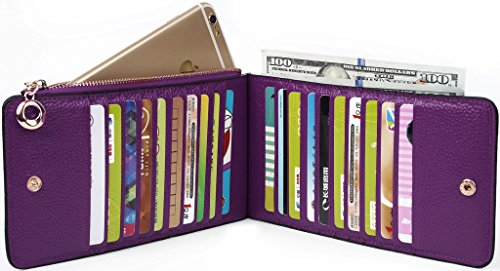 YALUXE Women's RFID Blocking Genuine Leather Multi Card Organizer Wallet with Zipper Pocket RFID Blocking Purple by YALUXE (Image #3)