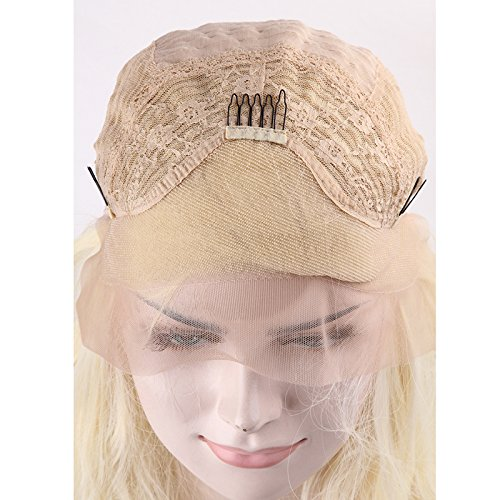 Wigsforyou New Fashion Lace Front Wig Women Short Platinum Blonde Wavy Lace Synthetic Hair Wigs