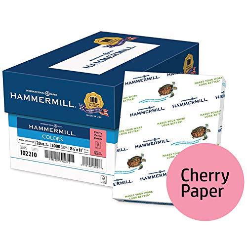 Hammermill Colored Paper, Cherry Printer Paper, 20lb, 8.5x11 Paper, Letter Size, 5000 Sheets / 10 Ream Case, Pastel Paper, Colorful Paper ()