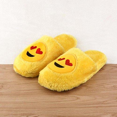 Pulison (tm) Unisex Emoji Cute Cartoon Slippers Cálido Acogedor Suave De Peluche Hogar Zapatos De Interior D