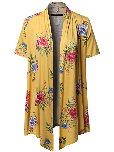 Awesome21 Open Front Short Sleeves Floral Print Cardigan - Made in USA Mustard Size 2XL - Ribbed Print Cardigan