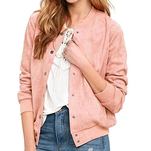 FIRERO Women Plain Long Sleeve Long Line Button Bomber Jacket Coat Collar Top
