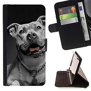 Momo Phone Case / Flip Funda de Cuero Case Cover - Americana collar de perro Dogo blanco Negro; - Motorola Moto E ( 1st Generation )