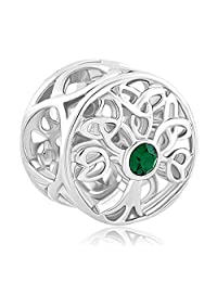 Charmed Craft 925 Sterling Silver Family Tree of Life Jan-Dec Birthstone Celtic Knot Crystal Charm Bead Fit Pandora Bracelet