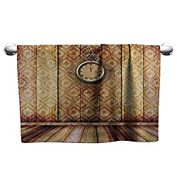 DUCKIL Bathroom Hand Towels Victorian Decor Antique Clock on Medieval Style Wall Wooden Floor Classic Architecture Theme Art Personalized Bath Sheet 35 x 12 inch Beige Brown