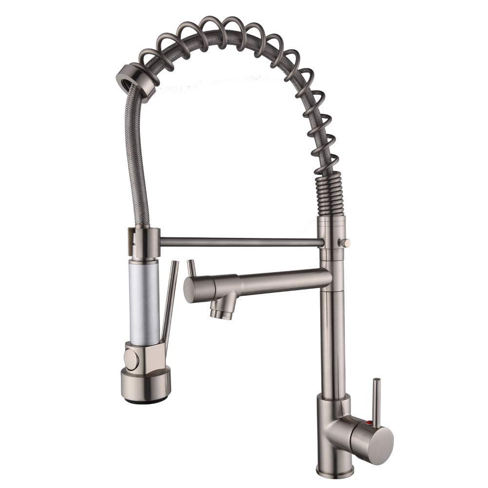 VOTON-A7707L Modern High Arch Spring Rotating Double Spout with Aerated Flow Pull Down Spray Kitchen Sink Faucet (Brushed Nickel)