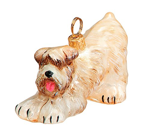 Joy To The World Bowing Soft Coated Wheaten Terrier Polish Blown Glass Christmas Ornament (Wheaten Terrier Ornament)