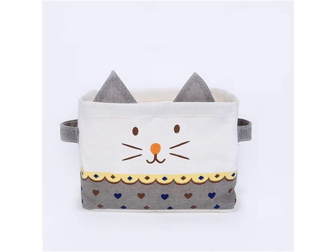 Storage Box Cat Pattern Storage Box Cotton and Linen Storage Box Sundries Storage Box(Grey)