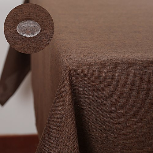 Deconovo Decorative Linen Look Table Cloth Spill Proof Tablecloth for Guest Room 54x72 Inch Brown (Square Vinyl Tablecloth Brown)
