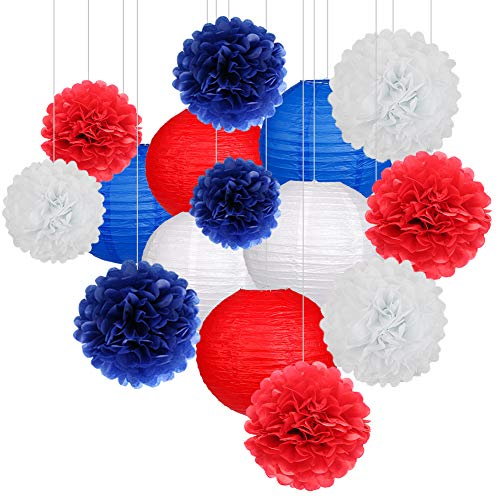 15Pcs Party Pack Paper Lanterns and Flowers Pom Pom Balls Hanging Decoration for Independence Day Wedding Birthday Baby Shower-Red/RoyalBlue/White