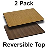 "Flash Furniture 2 Pk. 24"" x 42"" Rectangular Table Top with Natural or Walnut Reversible Laminate Top For Sale"