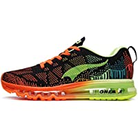ONEMIX Air Max Flyknit Mens Knit Running Shoes (Black Fluorescent Green)