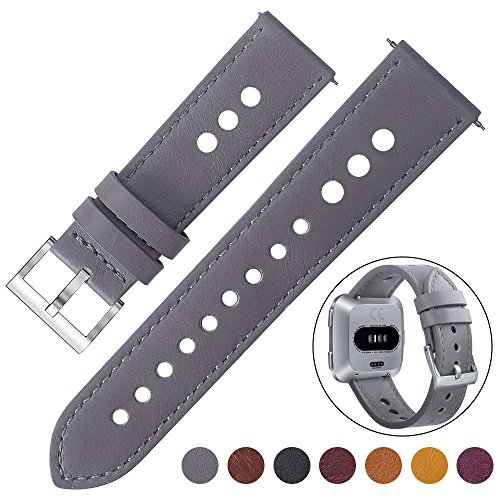 EZCO Compatible Fitbit Versa Bands, Classic Vintage Genuine Leather Band Breathable Watch Strap Replacement Wristband Accessories Compatible Fitbit Versa Smart Watch Women Man, Grey