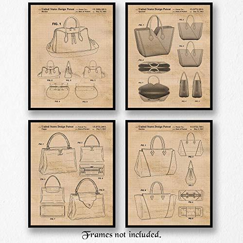 Original Louis Vuitton Handbags Patent Poster Prints- Set of 4 (Four 8x10) Unframed Pictures- Great Wall Art Decor Gifts Under $20 for Home, Office, Studio, Designer, Decorator, Stylist, Teacher