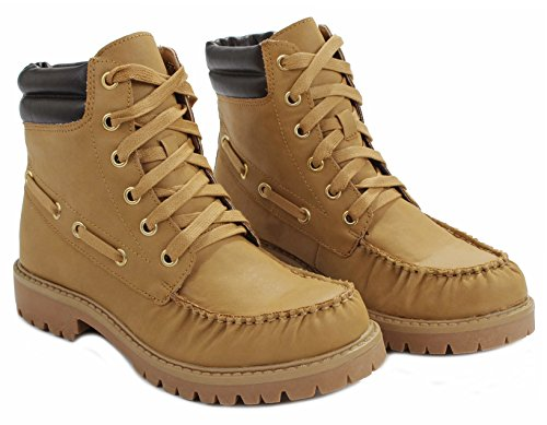 Up Denver Women Leatherette Moccasin Combat Leatherette Camel Boots Rugged Lace WIrqZHndr
