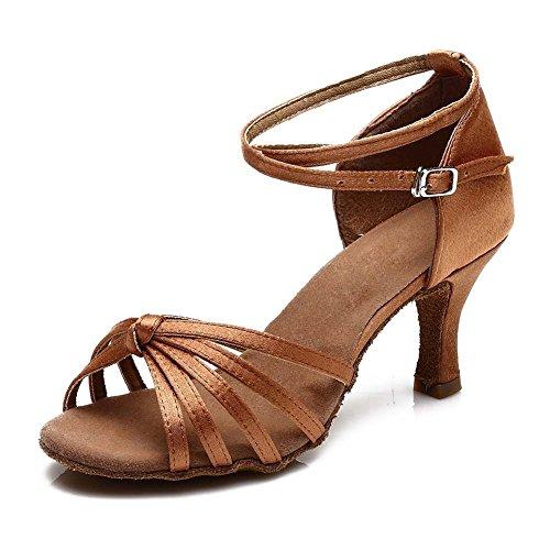YFF Women's Ballroom Latin Dance Schuhe hochhackige Salsa 15 Stil Heiß , Braun, UK7/US 8,5 / EU 40,5 CM