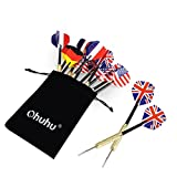 Ohuhu® 12 Pcs Tip Darts with National Flag Flights (4 Styles) - Stainless Steel Needle Tip Dart with 3 Free PVC Dart Rods