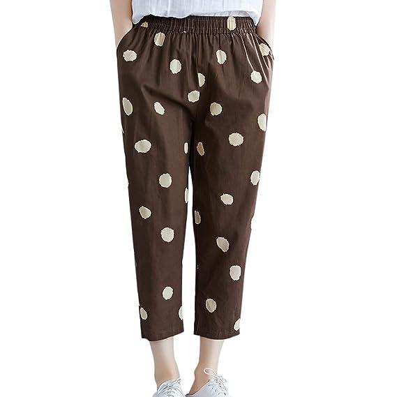 Luckycat Mujeres Casual Pantalones Harem Boho de Impreso ...