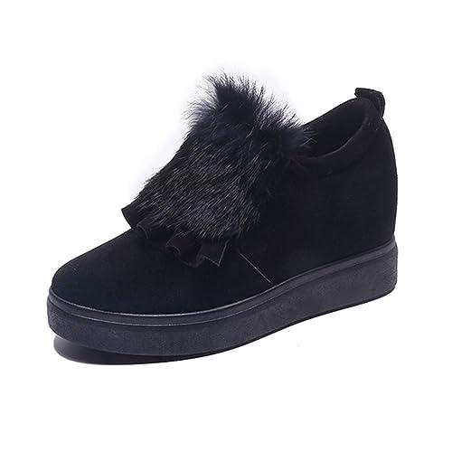 Plataforma Mujer Pisos Mocasines Hechos A Mano Invierno Punta Redonda Pluma Aumento De Altura DecoracióN Calzado Sin Cordones: Amazon.es: Zapatos y ...
