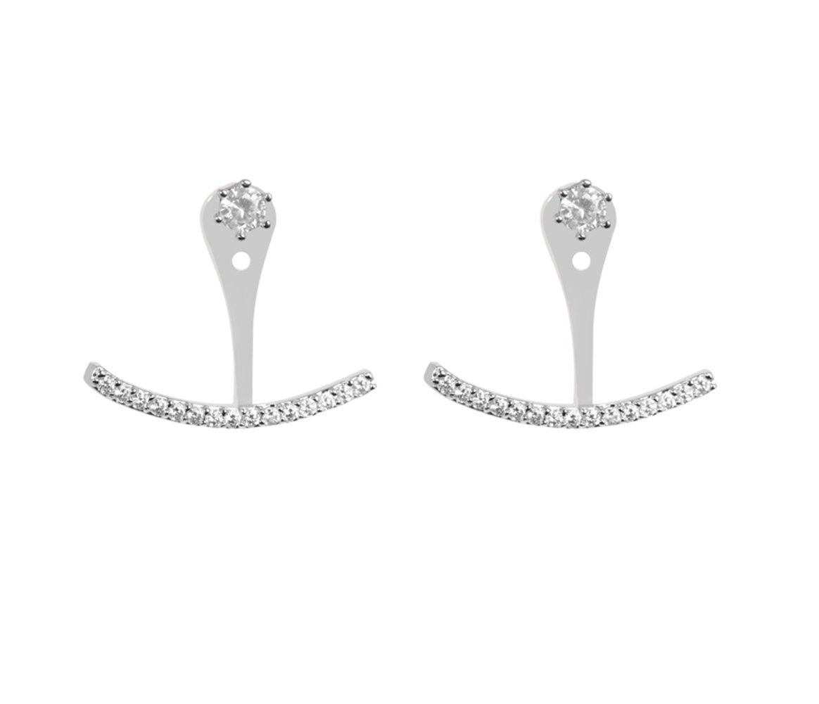 Front Back Ear Jacket Post Earrings S925 Sterling Silver Cubic Zirconia AAA Quality Stud Earrings