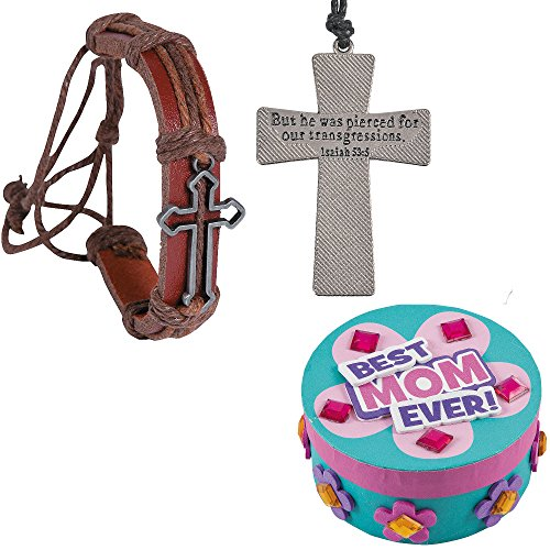 Mothers Day Gift Set   Metal Cross Bracelets, Nail Cross Necklaces & Mothers Day Jewelry Box Craft Kit   Kids DIY Personalized Gift Boys Girls Christian Faith Gifts from daughter or Son