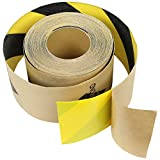 Anti Slip Traction Tape Black Yellow Roll Safety Non Skid Self Adhesive Silicon Carbide Sticky Grip Safe Grit 6'' x 10', 20', 30' (Caution Stripe, 6'' x 30')