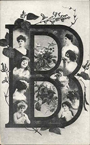 Large Letter B with Women's Faces Alphabet Letters Original Vintage Postcard