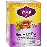 Yogi Detox Herbal Tea Caffeine Free Berry - 16 Tea Bags - Case of 6 - 70%+ Organic -